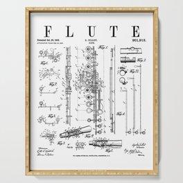 Flute Vintage Patent Flutist Flautist Drawing Print Serving Tray
