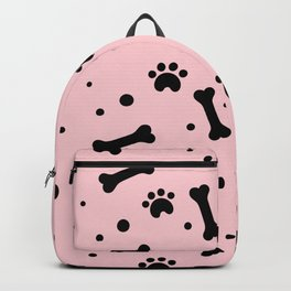 Black dog paw and bones pattern on pink background Backpack