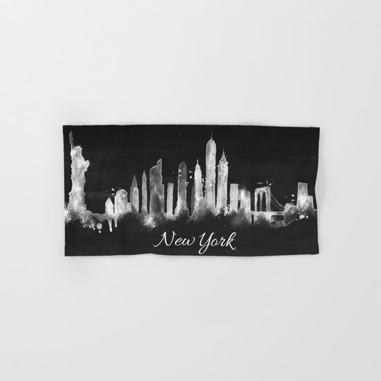 Black New York Skyline Hand & Bath Towel