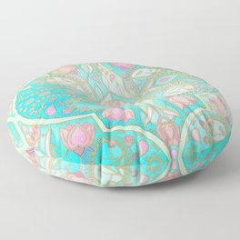 Floral Moroccan in Spring Pastels - Aqua, Pink, Mint & Peach Floor Pillow