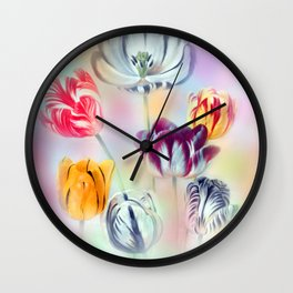 painted tulips on pastell background Wall Clock