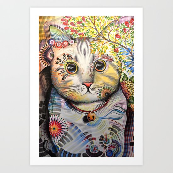 Smokey ... abstract cat art Art Print