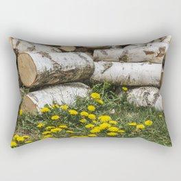 Dead Birch Tree And Living Dandelion Rectangular Pillow