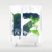 seahawks Shower Curtains featuring 12th man by Corina Rivera Designs