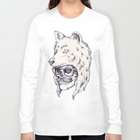hat Long Sleeve T-shirts featuring WOLF HAT by Mike Koubou