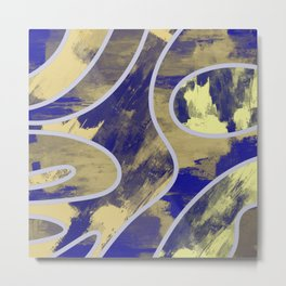 Textured Segments - Abstract, textured painting Metal Print