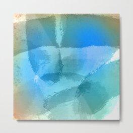 Blue Beach Abstract Watercolor Metal Print