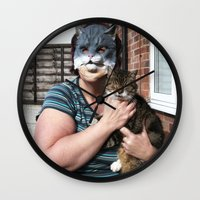 tina crespo Wall Clocks featuring Tina/Tabitha by Kalilibird