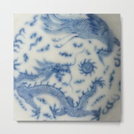 Damask vintage Monaco blue white girly ginger jar floral antique chinese dragon chinoiserie china Metal Print