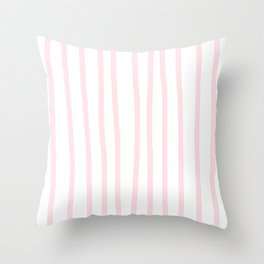 Simply Drawn Vertical Stripes in Flamingo Pink Throw Pillow