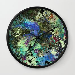 Deep In Thought - Black, blue, purple, white, abstract, acrylic paint splatter artwork Wall Clock