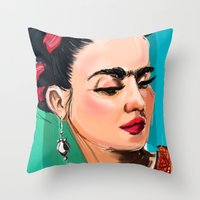 frida Throw Pillows featuring Frida by Jaleesa McLean