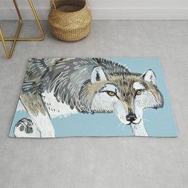 Totem Hokkaido grey wolf (Blue) Rug