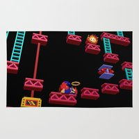 donkey kong Area & Throw Rugs featuring Inside Donkey Kong stage 3 by Metin Seven