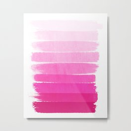 Luca - Ombre Brushstroke, pink girly trend art print and phone case for young trendy girls Metal Print