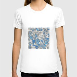 Multi Geometrical Pattern Faded Blues T-shirt