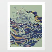 huebucket Art Prints featuring OCEAN AND LOVE by Huebucket