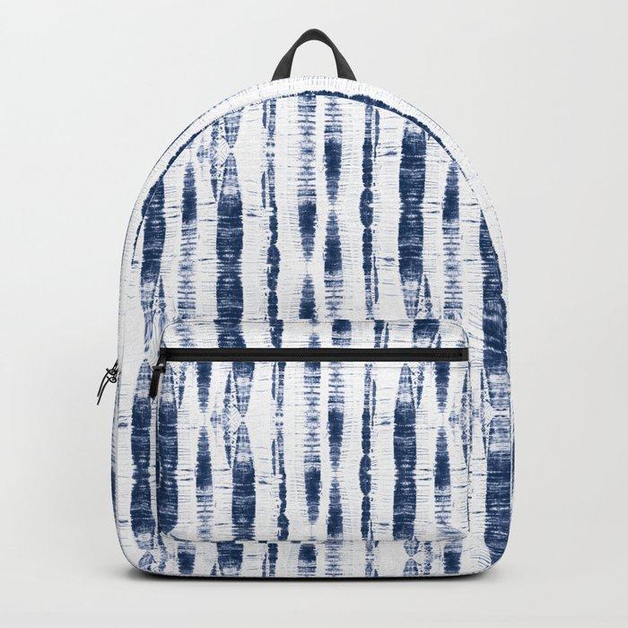 Shibori Stripes 2 Indigo Blue Backpack