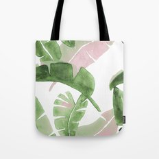 Tropical Leaves Green And Pink Tote Bag