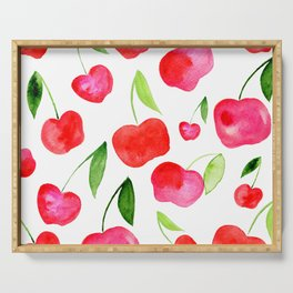 Watercolor cherries - red and green Serving Tray