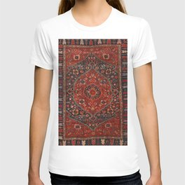 Persian Joshan Old Century Authentic Colorful Red Rusty Blue Vintage Rug Pattern T-shirt