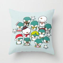 Kawaii Penguins Throw Pillow