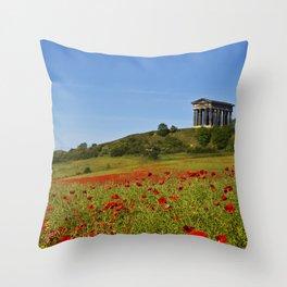 Penshaw Monument Poppys Throw Pillow