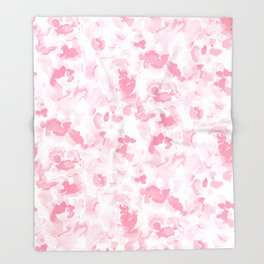Abstract Flora Millennial Pink Throw Blanket