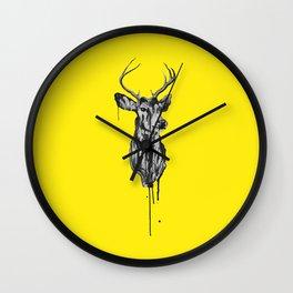 Deer Head III (bright yellow) Wall Clock