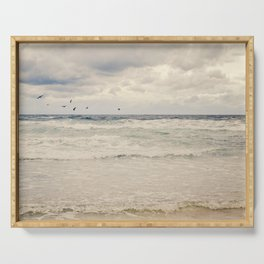 Seagulls take flight over the sea. Serving Tray