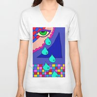 blankets V-neck T-shirts featuring Abstract 34 by Linda Tomei