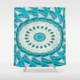 Cyan Glow Kaleidoscope 17 Shower Curtain