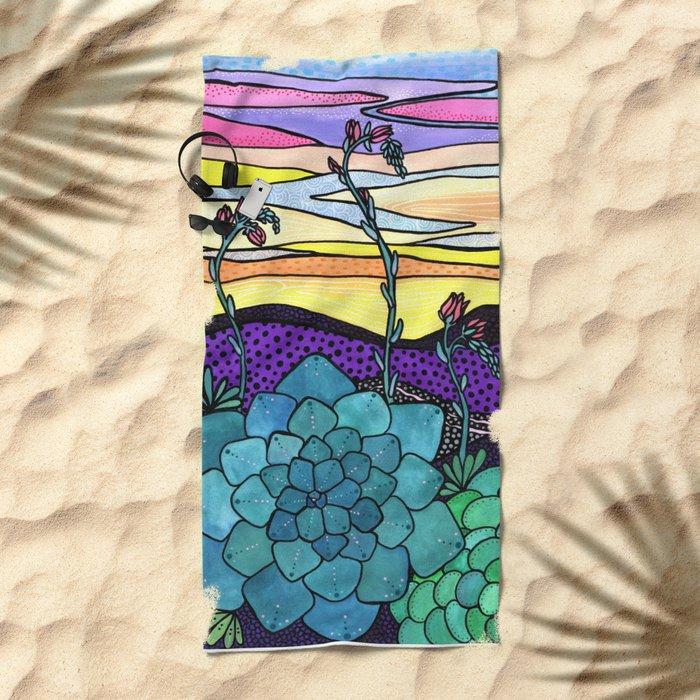 Succulent Sunset Beach Towel