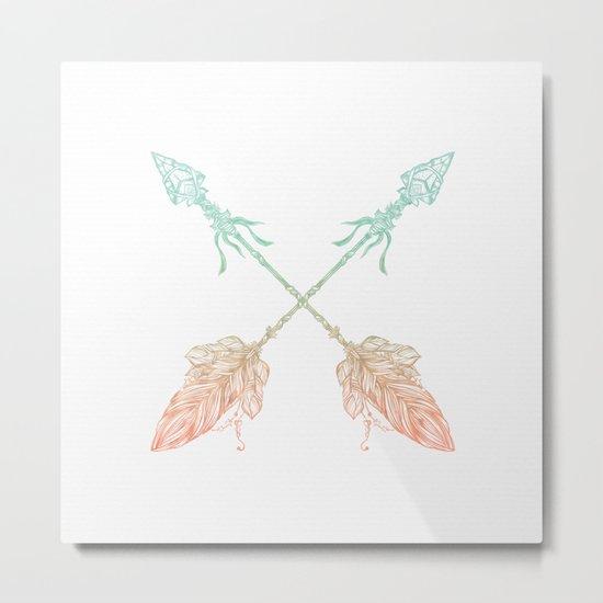 Arrows Turquoise Coral on White Metal Print