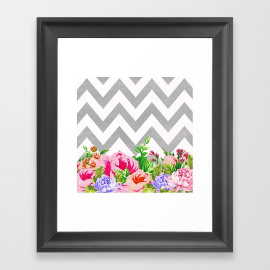 FLORAL GRAY CHEVRON Framed Art Print