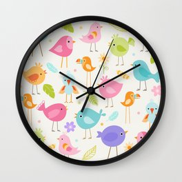 Birds - Off White Wall Clock
