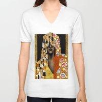 klimt V-neck T-shirts featuring Klimt Me by Estúdio Marte