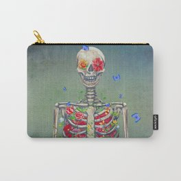 Blooming skeleton on the grunge background  Carry-All Pouch