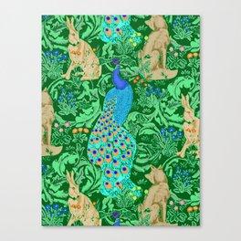 Art Nouveau Peacock Print, Cobalt Blue and Emerald Green Canvas Print