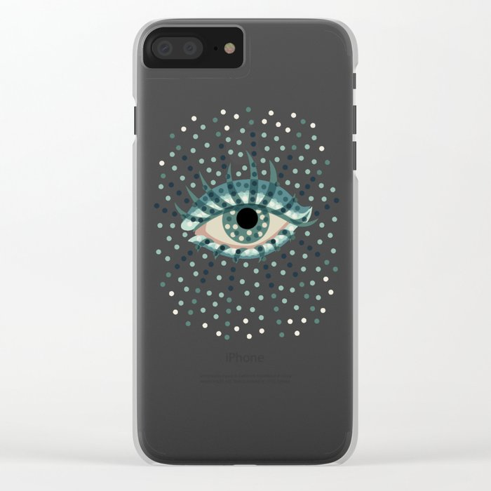 Dots And Abstract Eye Clear iPhone Case