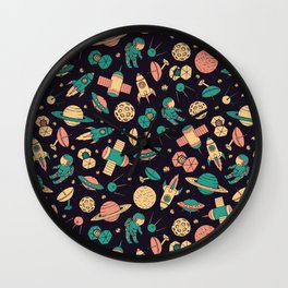 Retro Space Pattern Wall Clock