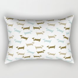 Dachshunds in blue and brown Rectangular Pillow