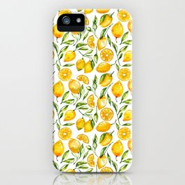 sunny lemons print iPhone Case