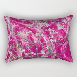 Vincent van Gogh Blossoming Almond Tree (Almond Blossoms) Pink Sunset Rectangular Pillow