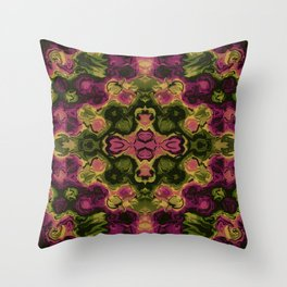 Deep Dark Floral Abstract Watercolor Throw Pillow
