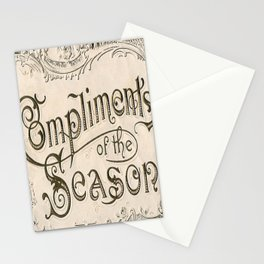 Season's Greetings Shabby Chic French Country Modern Vintage Christmas Typography Stationery Cards