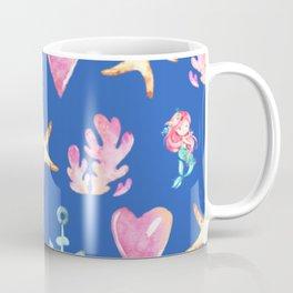 Beautiful Mermaid Theme Pattern Cute Gift for Girls Starfish Hearts Anchor Mermaid Coffee Mug