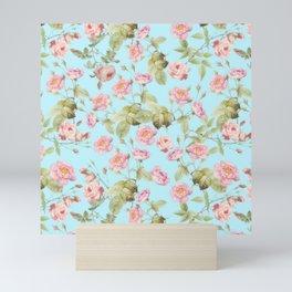 Vintage & Shabby Chic - Summery Pink Rose Garden Flowers Pattern Mini Art Print