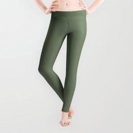 Solid Dark Camouflage Green Color Leggings
