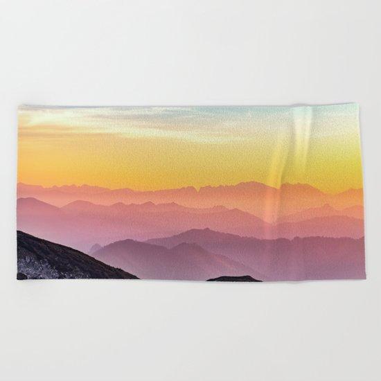 sky blue yellow orange purple Beach Towel